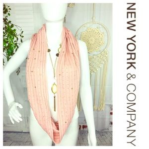 NY & Co Pink Gold Pearl Embellished Scarf Infinity